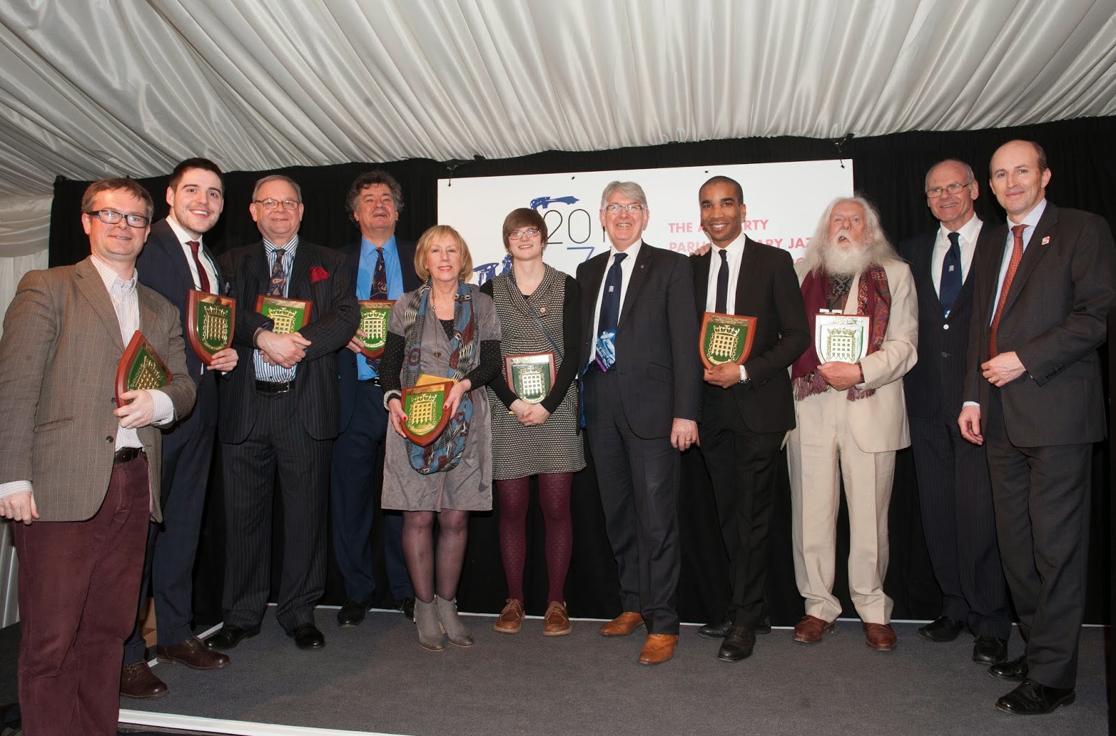 Recipients of awards at the Parliamentary Jazz Awards 10th March 2015, Credit, Hayley Madden