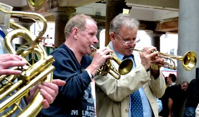 Chris Hodgkins and Digby fairweather Covent Garden June 2014 (Photo © Peter M Butler, Jazz&Jazz)