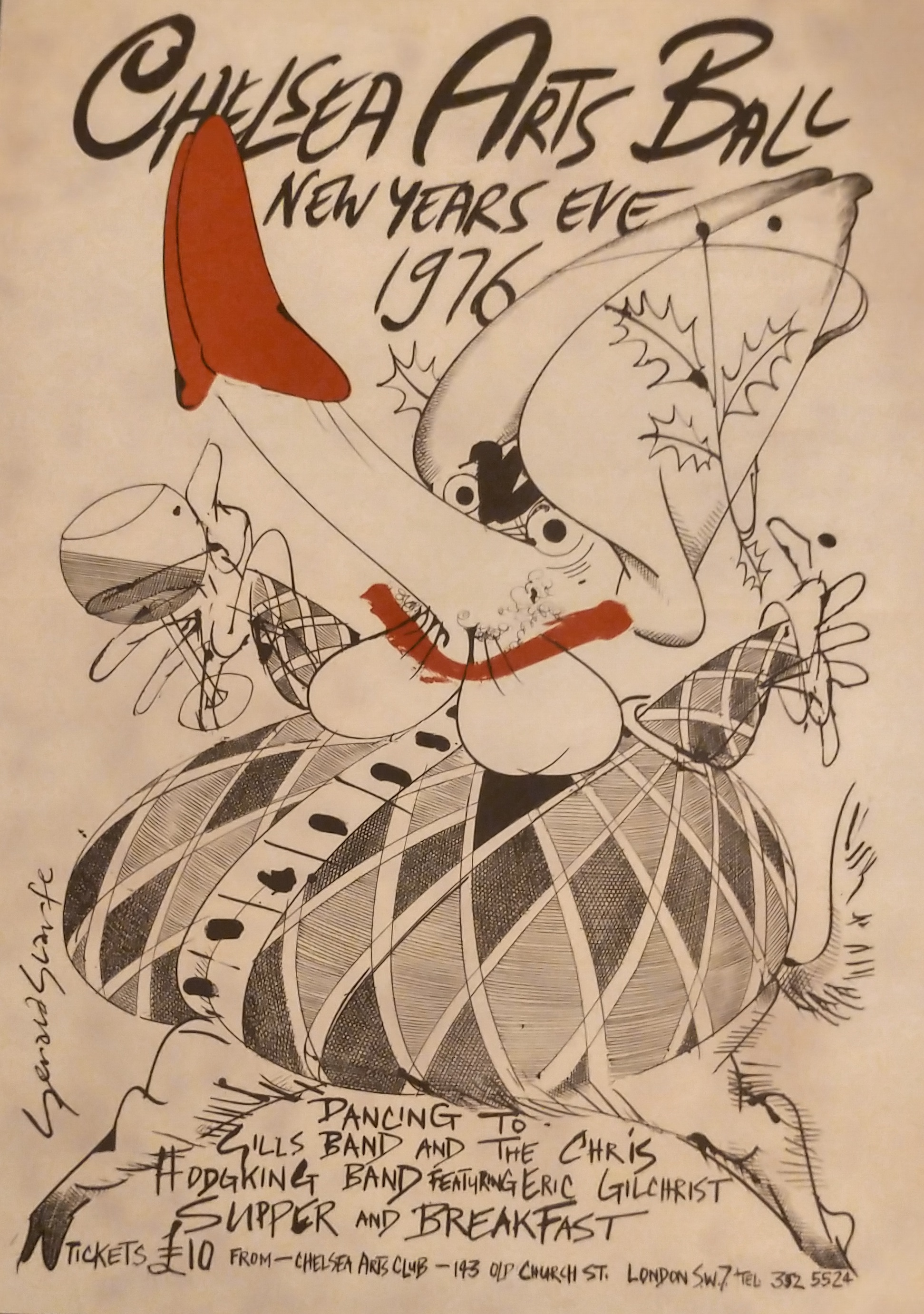 Gerald Scarfe designed poster for the Chelsea Arts Club Ball New Years Eve 1976